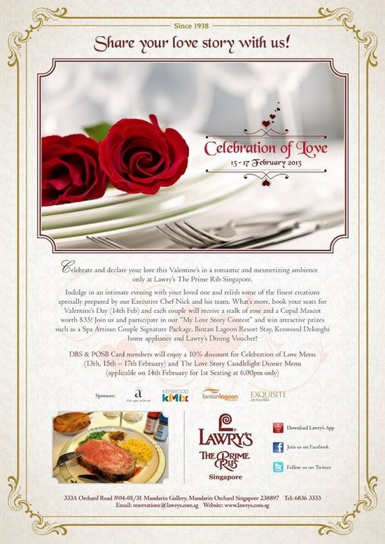 Lawry S The Prime Rib Valentine S Day Dinner Promotion Singapore