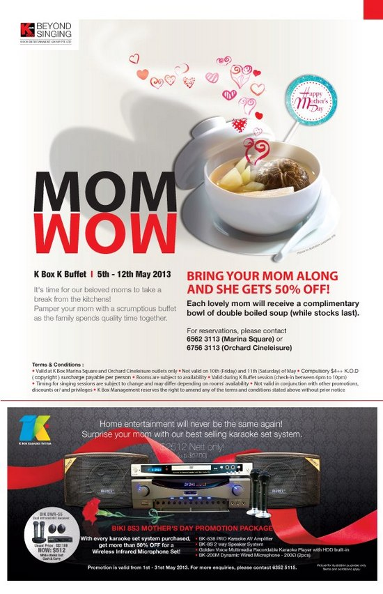 K Box Karaoke K Buffet Mother's Day Promotion (5 – 12 May