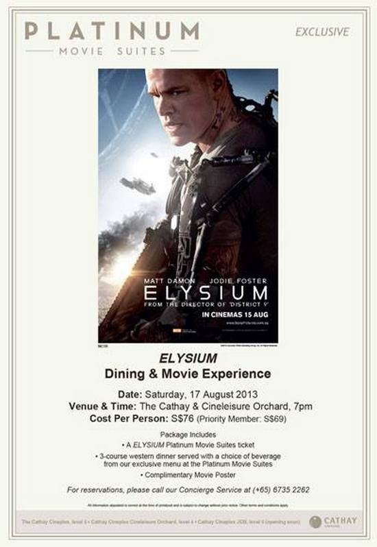 Cathay Cineplexes Elysium Dining and Movie Experiences (17 Aug 2013)