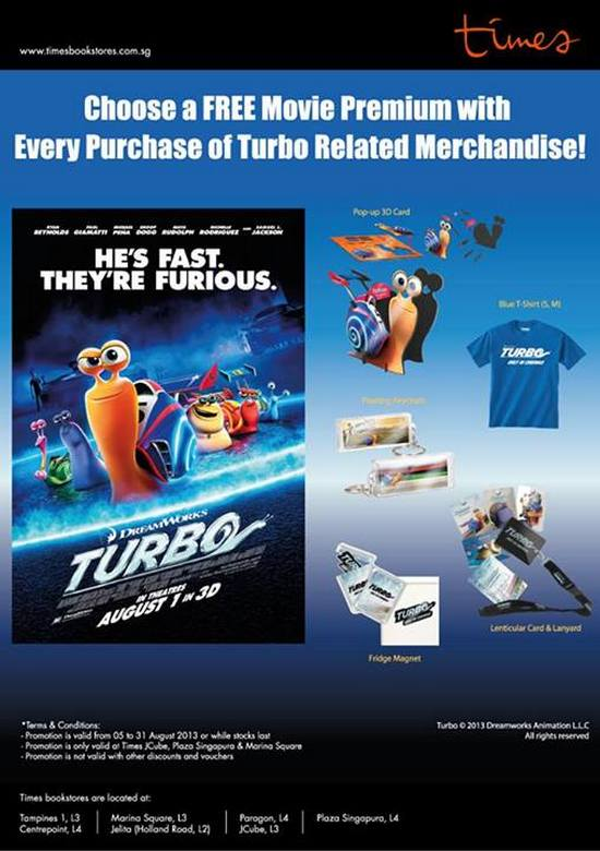 Free Movie Premium with Purchase of Turbo Related Merchandise