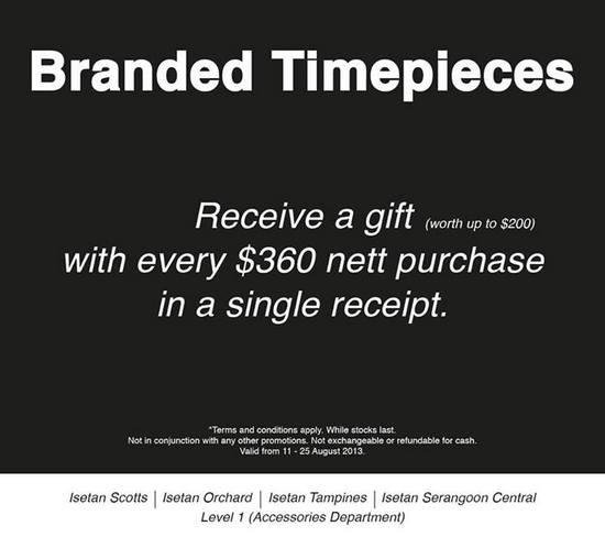 Isetan Branded Timepieces Sales (Till 25 Aug 2013)