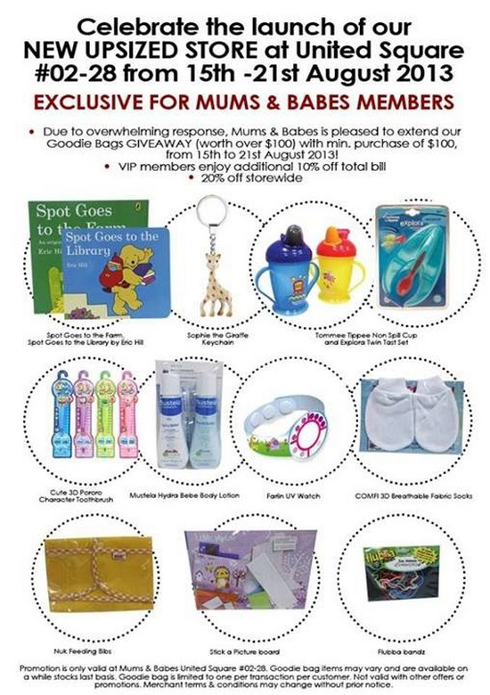 Mums & Babes United Square Opening Specials (Till 21 Aug 2013)
