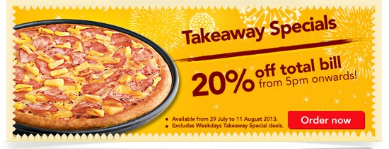 Pizza Hut National Day Takeaway Specials (Till 11 Aug 2013)