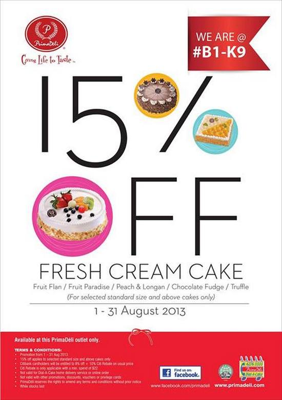 PrimaDeli Fresh Cream Cakes Promotion (Till 31 Aug 2013)