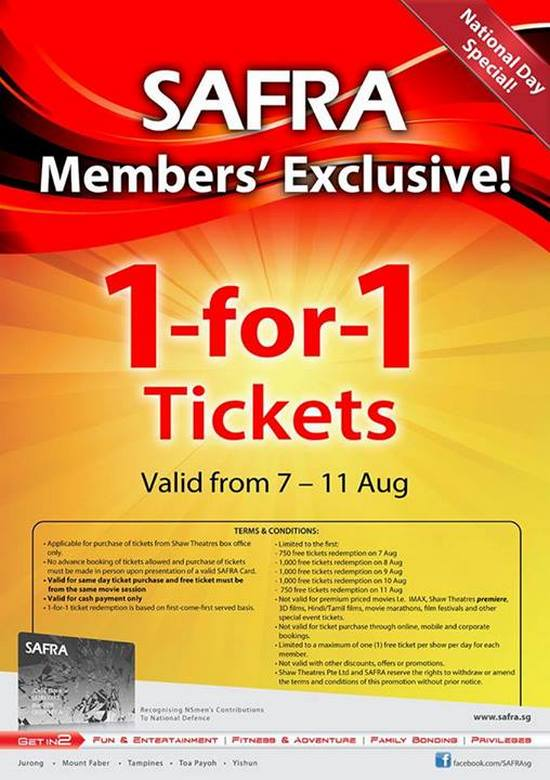 SAFRA Members Exclusive - 1 For 1 Movie Tickets (Till 11 Aug 2013)