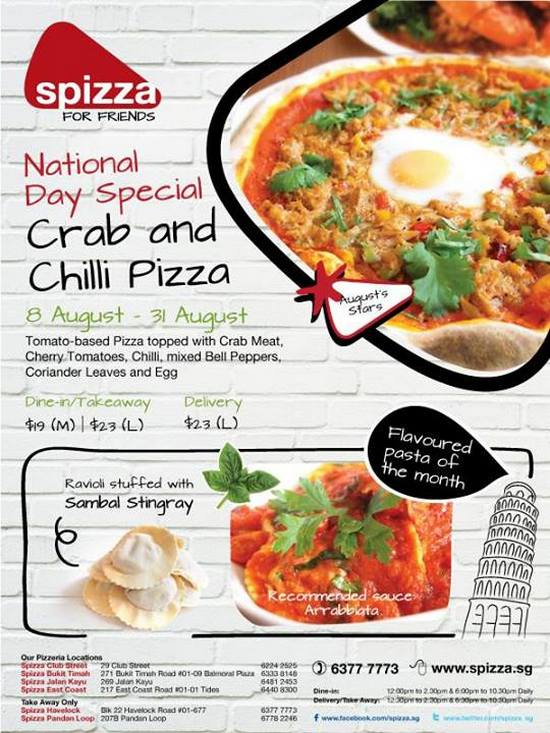 Spizza National Day Special (Till 31 Aug 2013)
